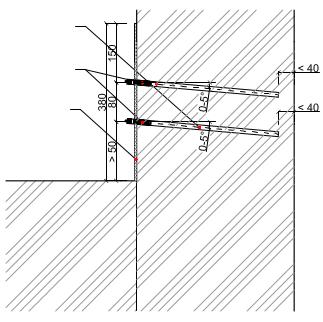 Tlaková liniová injektáž zdiva látkami ResiInjekt SI, DI, ME, VS - 2 řady