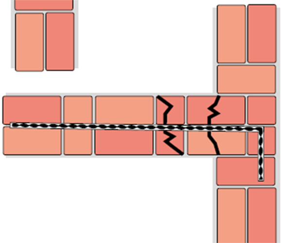 Kotvení odtrženého zdiva z vnější strany