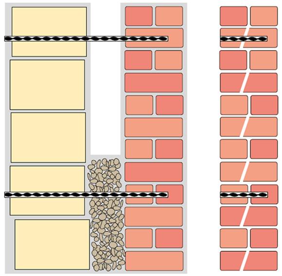 Kotvení odtrženého zdiva ve vrtech