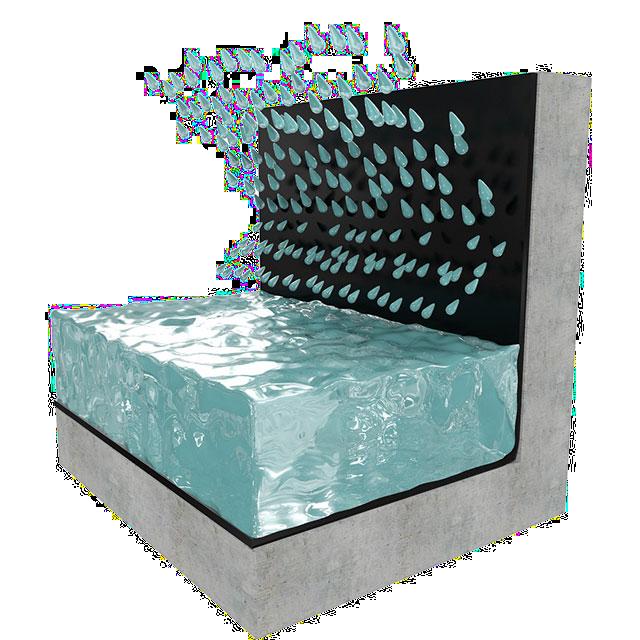 Hydroizolace z pozitivní strany.