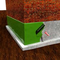 Hydroizolace - Tekutá guma - Zeď s nátěrem